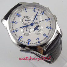 цена 44mm PARNIS white dial blue marks Moon Phase multifunction automatic mens watch онлайн в 2017 году
