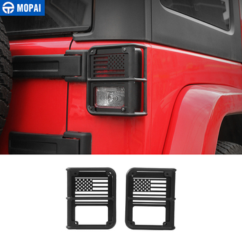 MOPAI Metal 4 pc Car Exterior Rear Tail Light Lamp Guards Decoration Cover for Jeep Wrangler JK 2007 Up Car Accessories Styling