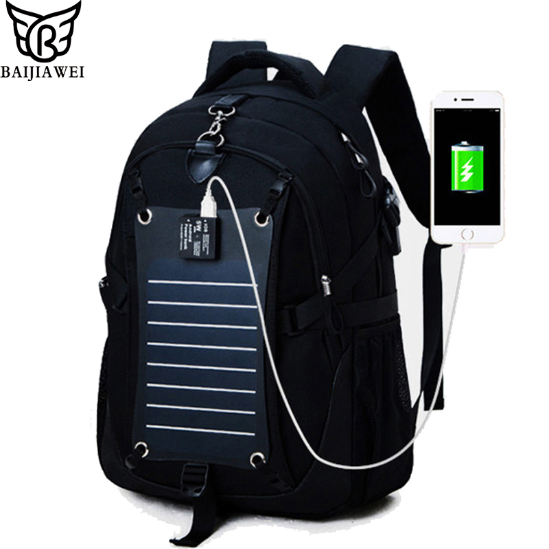 BAIJIAWEI Men Backpacks Technology Solar Power Charger ...