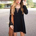 2016 Summer Women Casual Loose Long Sleeve Dress Plus Size Tops Ladies Sexy V-neck Hollow Out Mini Solid Lace Up Vestidos Black