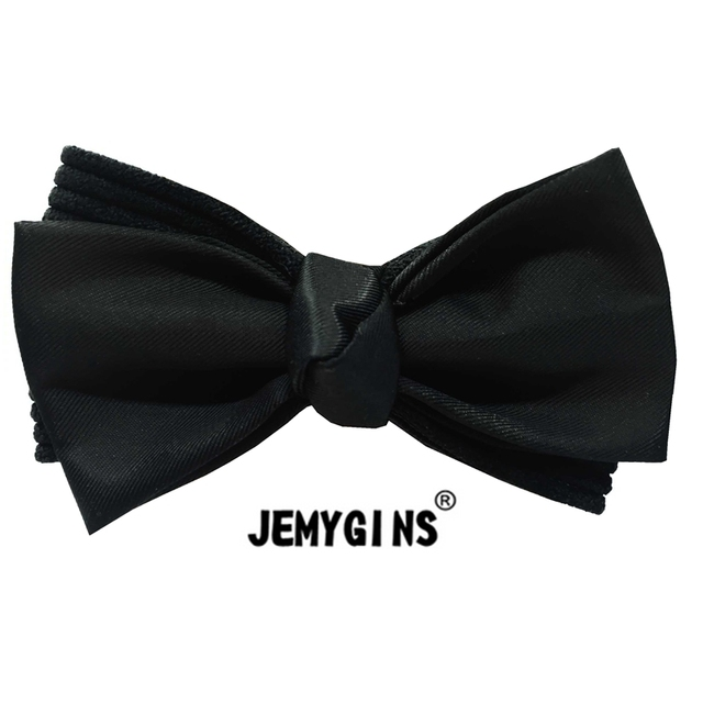 5a697456b749 JEMYGINS Polyester Solid Black Fold Double Deck DIY Suit Shirt Male Men  Free Shipping Bow Tie High Quality Formal Wedding Party