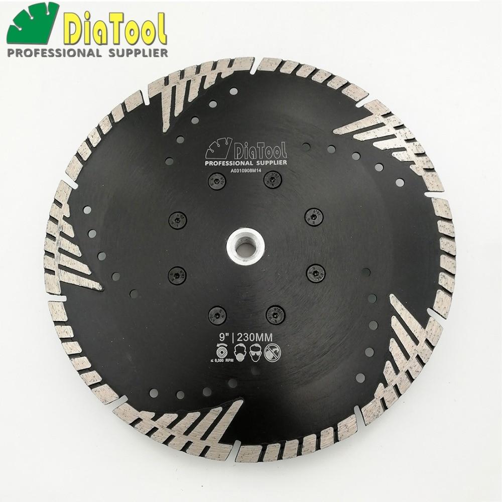 цена на DIATOOL Dia 9inch Diamond Hot Pressed Turbo Blade Cutting Disc Granite Concrete Masonry M14 Sawblade With Slant Protection Teeth