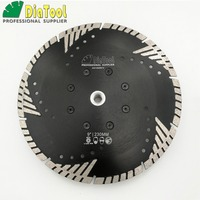 DIATOOL Dia 9inch Diamond Hot Pressed Turbo Blade Cutting Disc Granite Concrete Masonry M14 Sawblade With Slant Protection Teeth