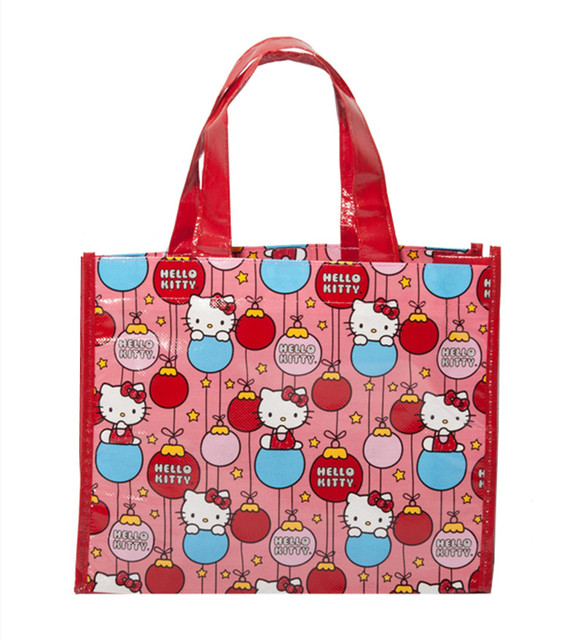 c7395bd3a0 Cartoon Hello Kitty Cat Plastic Woven Bag Red Tote Handbag Eco Reusable  Shopping Bag Girls School Book Gifts Bags 2 PCS Lot