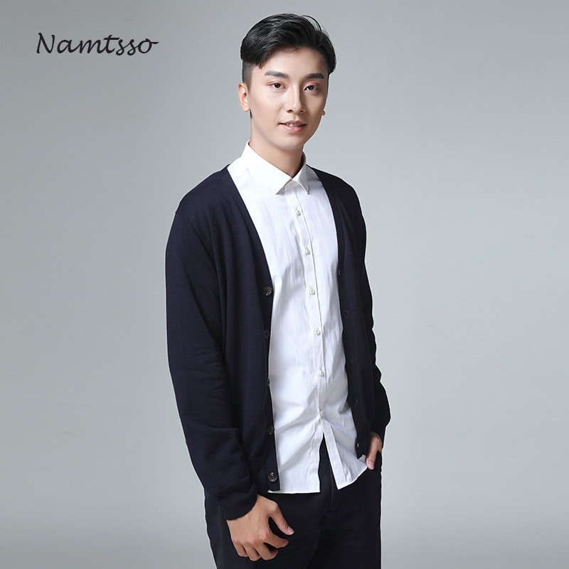 100% Cotton Knit Cardigan Men's 2018 Autumn Winter Long Sleeve Solid Color New V Neck Thin Sweater Brand Base Top Clothing 868