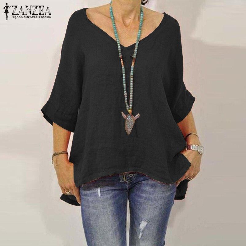 ZANZEA 2019 Women Summer Blouse Solid V Neck Loose Shirts Casual Cotton Tunic Tops Split Blusas Femininas Chemise Plus Size