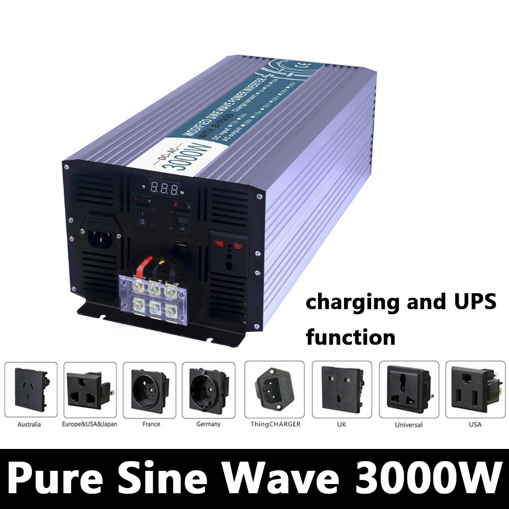 3000W Pure Sine Wave Inverter,DC 12V/24V/48V To AC110V/220V,off Grid Solar Voltage Converter With Panel Charger And UPS p800 481 c pure sine wave 800w soiar iverter off grid ied dispiay iverter dc48v to 110vac with charge and ups