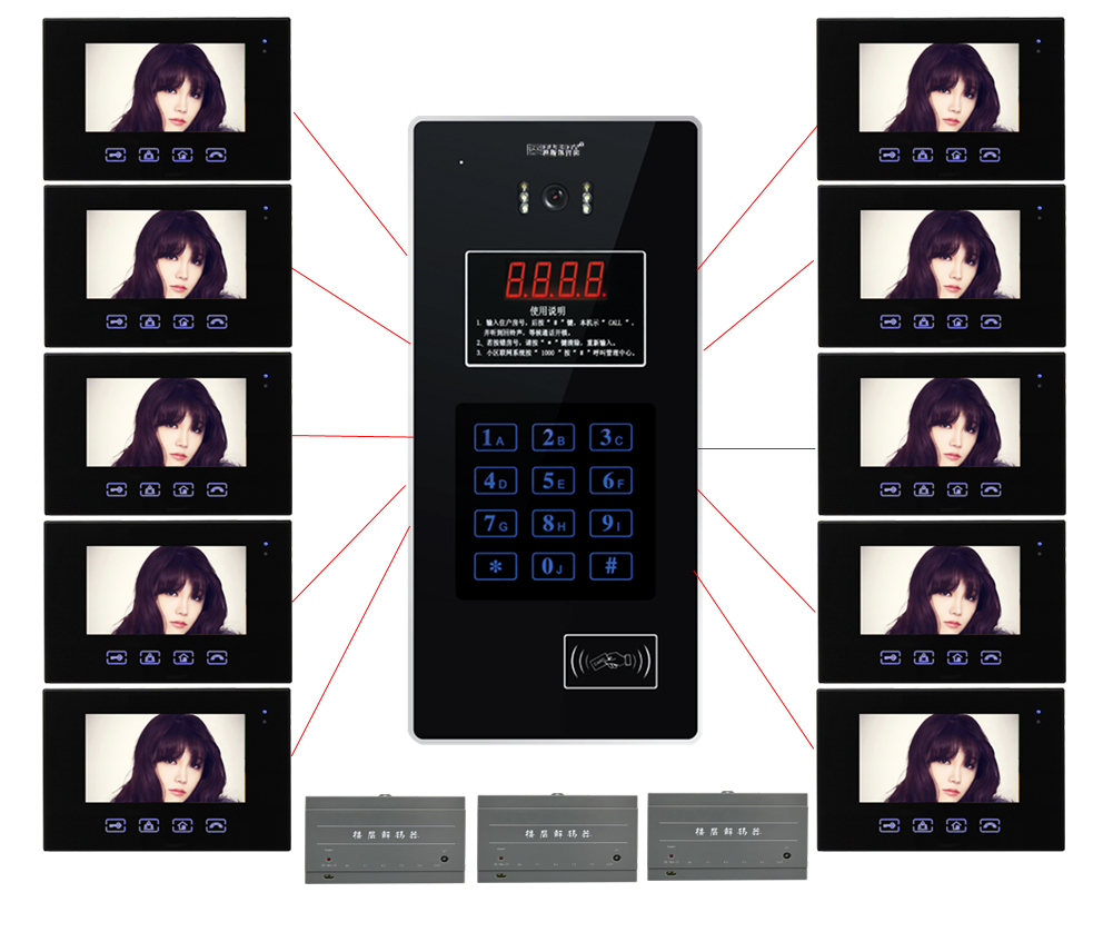 New Arrival TFT Color 7 LCD Video Door Phone Building Doorbell IR Intercom Home Security Video System For 10-Apartments