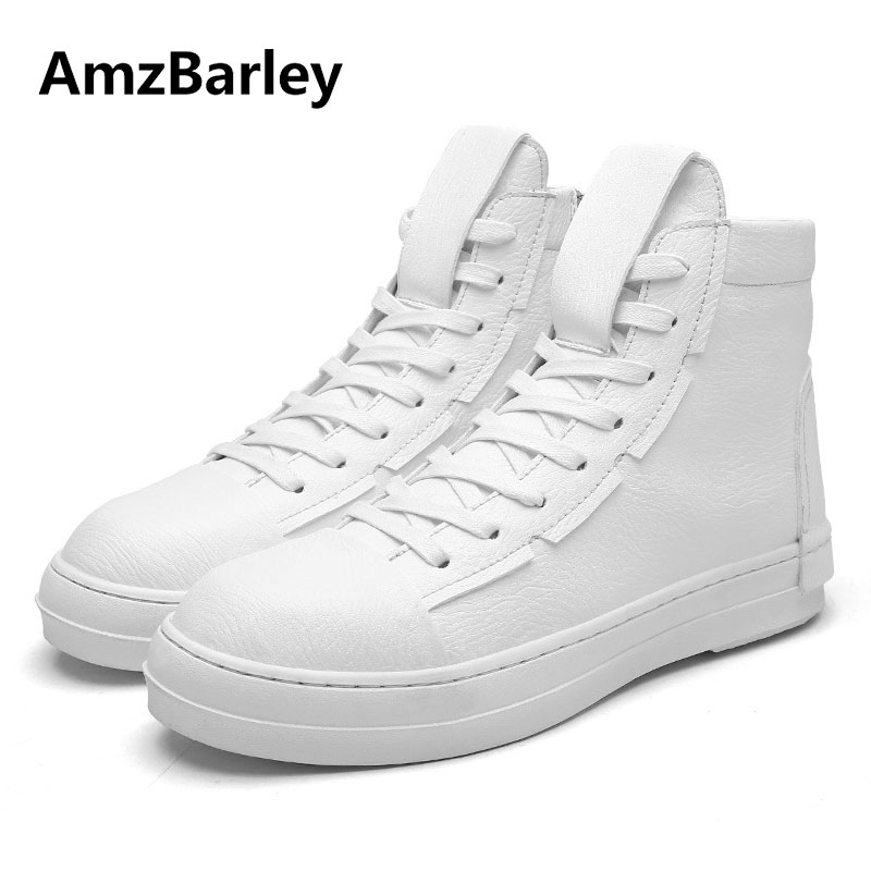 AmzBarley Men Shoes Flat High Top Hip Hop Leather Casual Footwear Man Lace Up Black White Colors Leisure Crossfit mycolen high quality men white leather shoes fashion high top men s casual shoes breathable man lace up brand shoes