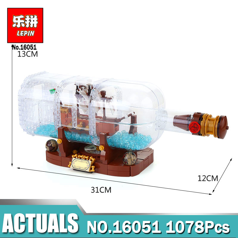 Lepin 16051 Ideas Ship in a Bottle Creative Pirates of the Caribbean Pirates Legoing 21313 Building Blocks Bricks Kits Funny Toy lepin pirates of the caribbean 16051 16009 queen anne revenge building blocks bricks toys for children legoingly ship 4195 21313