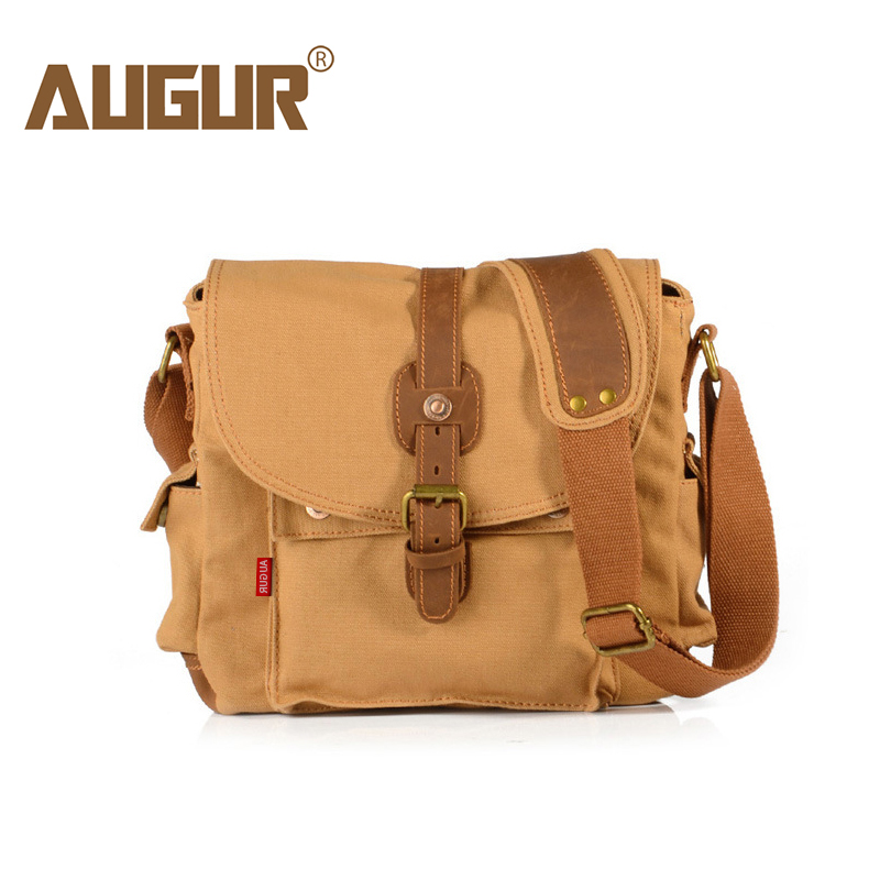 AUGUR Fashion Men's Shoulder Bag Canvas Leather Belt Vintage Military Male Small Messenger Bag Casual Travel Crossbody Bags multi functional survival paracord bracelet black camping outdoor survival gear whistle lifesaving braided rope tactical wrist