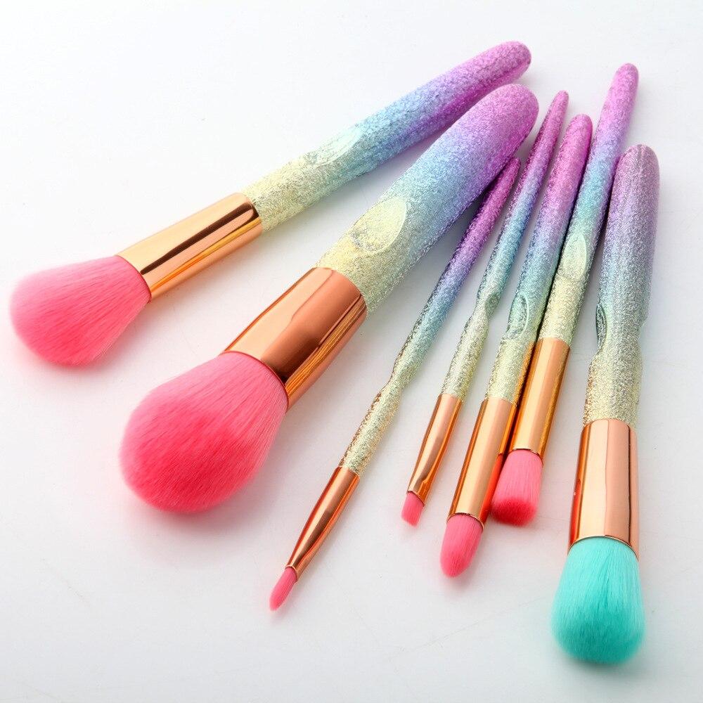 CHILEELOVE 7 Piece 3D Gradient Pink Purple Blue Pro Beauty Tool Makeup Brushes Kits For Blush Bulk Powder Eye Shadow Highlight