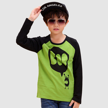 Long Novelty Children T-shirt 2016 Fashion Cotton Green Unisex Tops And Tees O-neck Children's Clothing Novelty Children T-shirt