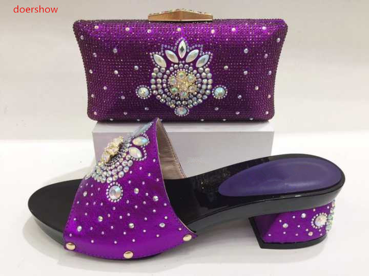 doershow Italian Shoes With Matching Bags Nigeria Wedding Shoes And Bag To Match Stones African Shoe And Bag Set For LADY KH1-14 doershow fast shipping fashion african wedding shoes with matching bags african women shoes and bags set free shipping hzl1 29