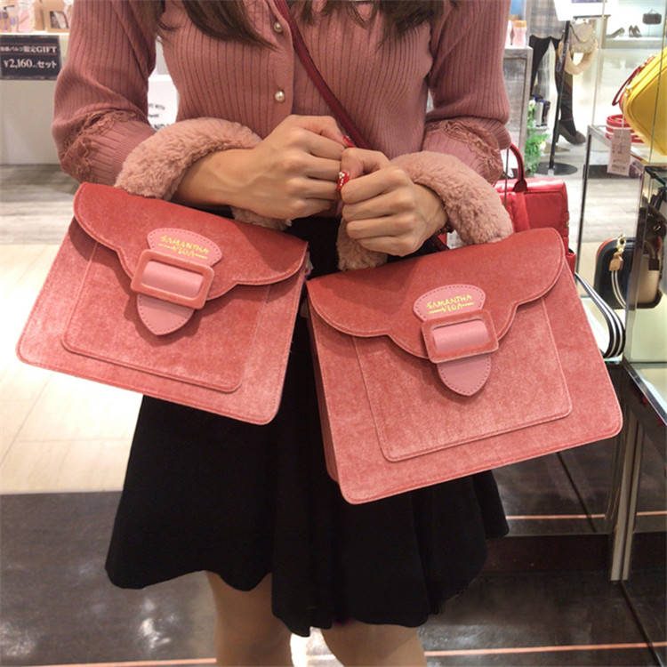 17 Christmas limited velvet suede handbag Samantha Vega plush handle organ shoulder bag Retro small flap square Messenger bag 3