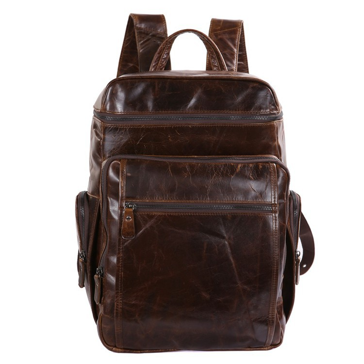 Nesitu Large Capacity Vintage Genuine Leather Women / Men Backpacks Cowhide Men Travel Bags #M7202 kerui pu mountaineering men s travel bags backpacks outdoor lesbian genuine large capacity