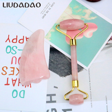 Stone Facial Massager Set Rose Quartz Face Roller Guasha Massager Face Slimming Beauty