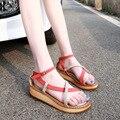 Mulheres Tamanho Grande Senhoras Sapatos de Plataforma de Couro Genuíno Sandálias de Verão Roma Sandálias Gladiador Mulher Sapatos Estudantis