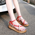 Women Big Size Sandals Summer Genuine Leather Ladies Platform Shoes Gladiator Rome Sandals Woman Student Shoes