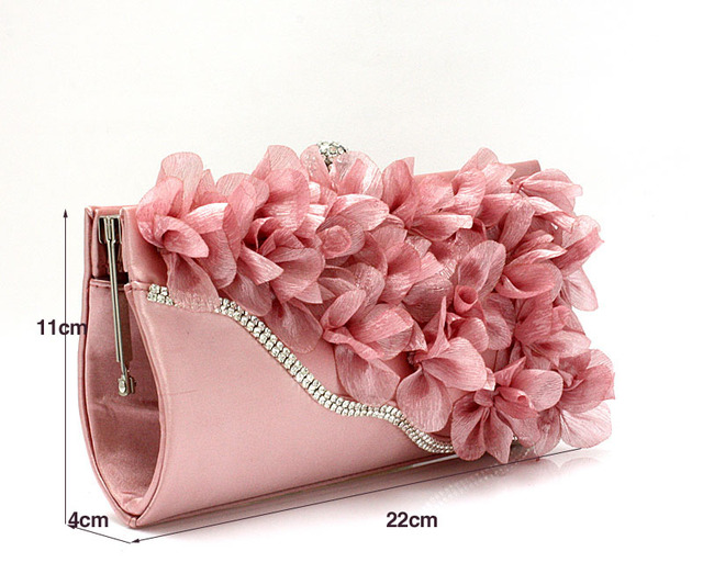 9 Colors Handmade Fabric Flowers Evening Bag 1