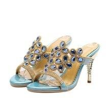 Rhinestone High-heeled Sandals Women Summer Gold High Heel Shoes Open Toe High Heels Slippers Crystal Shoes