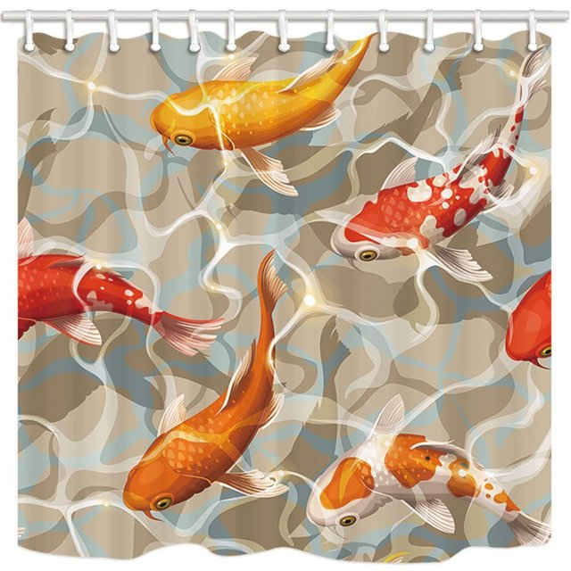 Varicolored Koi Fish Shower Curtains For Bathroom, Ocean Tropical Fish  Swimming In Water, Shower Curtain