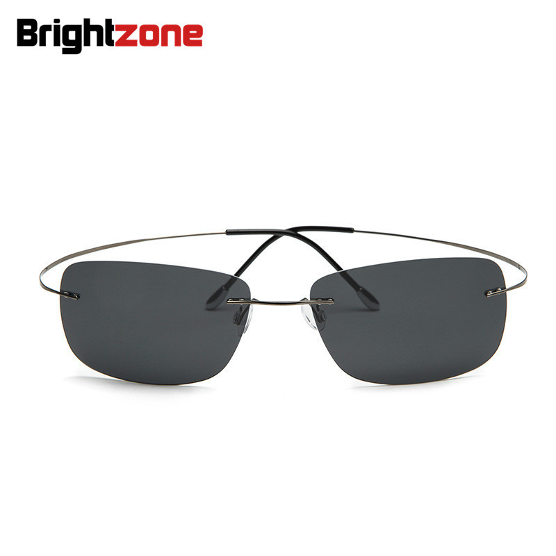 100% Titanium Rimless Rectangle Sunglasses Super Light Brand Designer Hingeless Gafas Lelaki Polarized Sun Glasses Eyewear