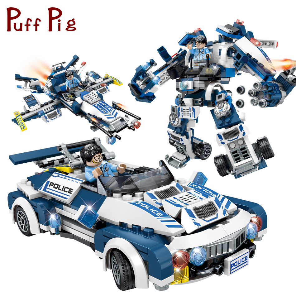 354PCS City Police Cars Plane Model Transform Mech Robot Building Blocks Compatible Legoed Technic Educational Toys For Children gudi block city large passenger plane airplane block assembly compatible all brand building blocks educational toys for children