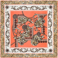 100cm 100cm Twill Silk Women 100 Silk Square Luxurious Leopard Flower Chain Print Silk Scarf Femal