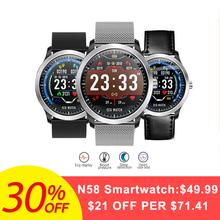 Bakeey N58 ECG PPG Smart Watch Electrocardiograph ECG Display Measurement Leather and Steel Blood Pressure Men Smartwatch Women