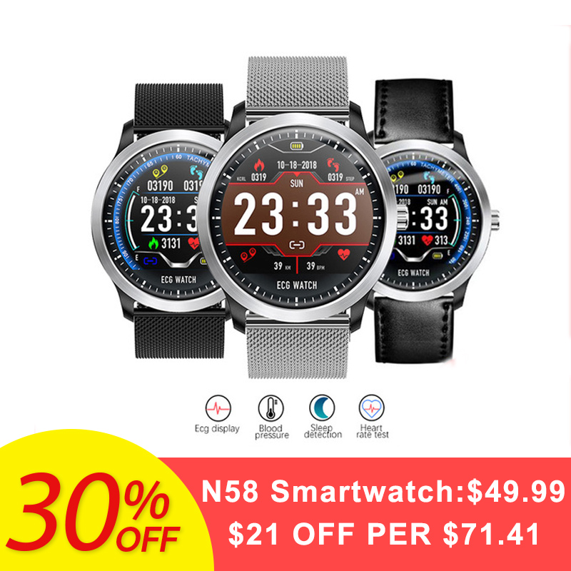 Bakeey N58 ECG PPG <font><b>Smart</b></font> <font><b>Watch</b></font> Electrocardiograph ECG <font><b>Display</b></font> Measurement Leather and Steel Blood Pressure Men Smartwatch Women image