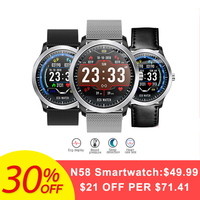 Bakeey N58 ECG PPG Smart Watch Electrocardiograph ECG Display Measurement Leather and Steel Blood Pressure Men Smartwatch Women