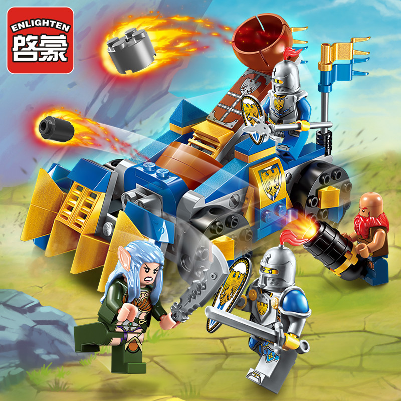 Enlighten Glory War Educational Building Blocks Toys For Children Gifts Castle Knight Heroes Rock Warcraft Weapon Elfin Catapult 1 6 yosd bjd sd doll accessories bjd clothes overalls
