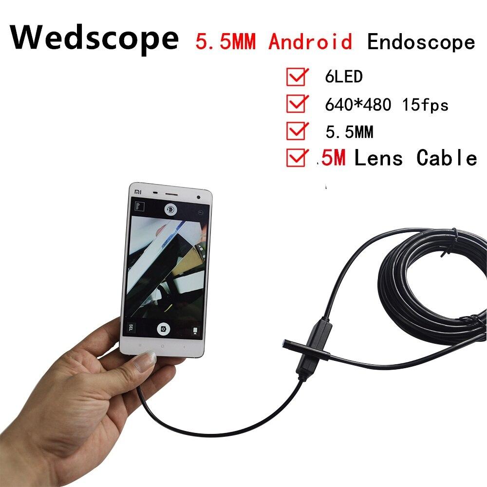 5.5 мм Объектив USB Эндоскоп 6 СВЕТОДИОДНЫХ IP67 Водонепроницаемая Камера Эндоскоп 5 М Мини Камеры Зеркало Крюк Как Подарок Android OTG Телефон эндоск…
