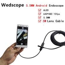 5.5mm Lens USB Endoscope 6 LED IP67 Waterproof Camera Endoscope 5M Mini Camera Mirror Hook As Gift Android OTG Phone Endoscope