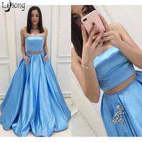 Sky Blue Pleated Crystal Two Pieces Strapless Prom Dress 2 Sets with Pickets Custom made for Homecoming Girl Maxi Gowns Lace Up