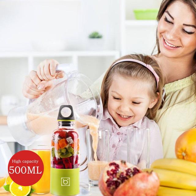 500ML Portable Electric Juicer Cup USB Rechargeable Vegetables Fruit Juice Maker Bottle Juice Extractor Blender Mixer