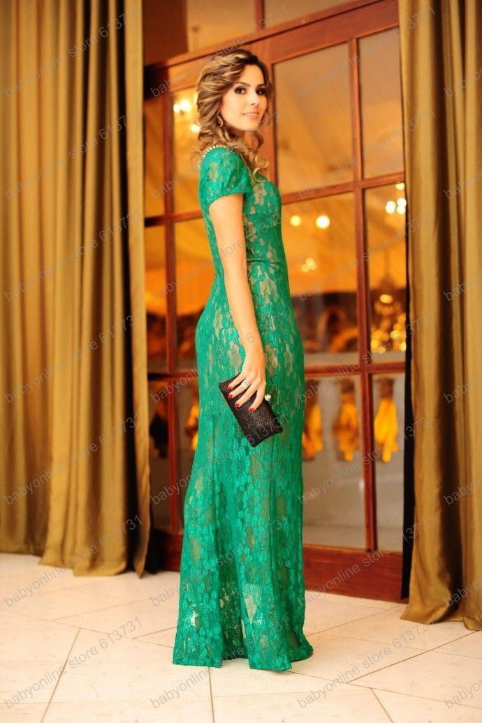 Vestido verde de encaje largo
