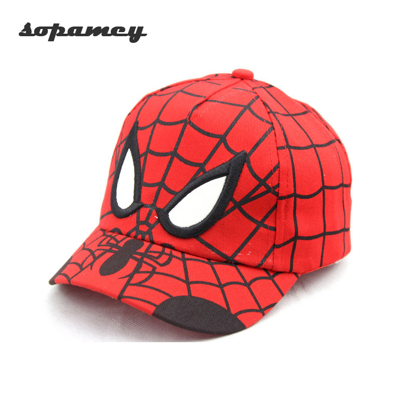 2017 Spiderman Cartoon Children Embroidery Cotton Baseball Cap kids Boy Girl Hip Hop Hat Spiderman Cosplay Hat movie tv cartoon games plush white cotton poro warm embroidery hat beanie cosplay games poro winter cap [ stock 3 style ]