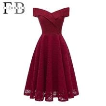 FEIBUSHI Robe Femme Embroidery Vintage Lace Dress Women Off Shoulder Dresses short Sleeve Casual Evening Party A Line Plus size