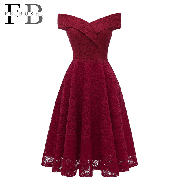 84368d28568 FEIBUSHI Robe Femme Embroidery Vintage Lace Dress Women Off Shoulder  Dresses short Sleeve Casual Evening Party