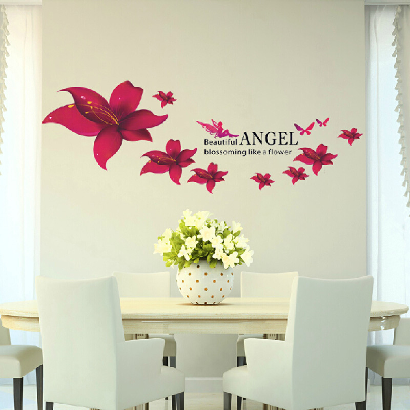 Online Shop DIY Angel Flowers Wall Sticker Romantic Elegant Frosted Red  Color Lily Flower Wall Stickers Bedroom Living Room Home Wall Decor |  Aliexpress ...