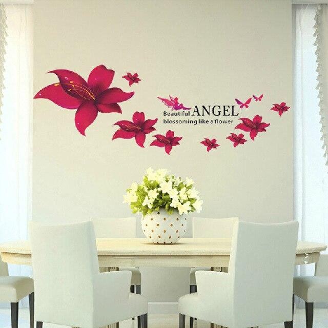 Diy Malaikat Bunga Stiker Dinding Romantis Elegan Buram Warna Merah Lily