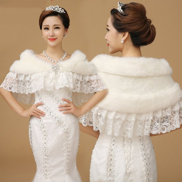 Pj015 New Bridal Wedding Dress Prom Gown Lace Faux Fur Stole Wrap