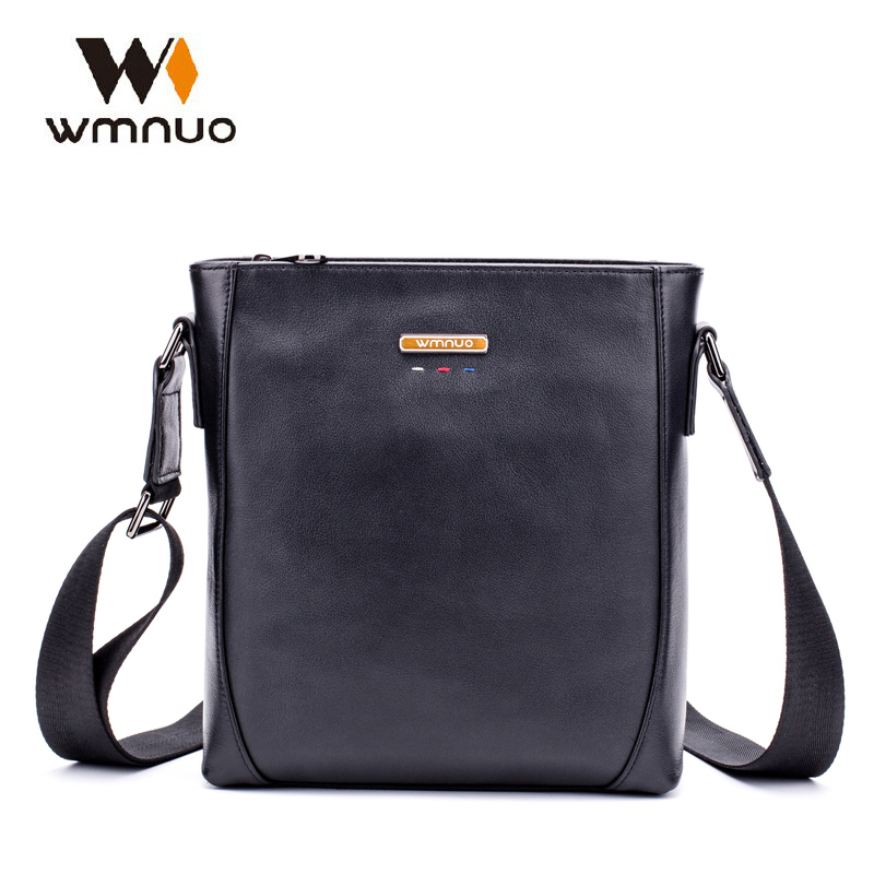 Wmuo Men Handbags Genuine Cow Leather Crossbody Bag Slim Male Shoulder Bag Business Travel iPad Bag Fashion Men Messenger Bags цена 2017