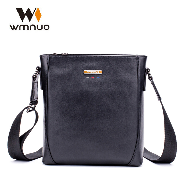 Wmuo Men Handbags Genuine Cow Leather Crossbody Bag Slim Male Shoulder Bag  Business Travel iPad Bag 49b7f4858b1cd