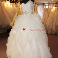 Real Pictures Of Expensive Beading Belt Ball Gown Complex Pleat Layers Organza Wedding Dress 2013 From
