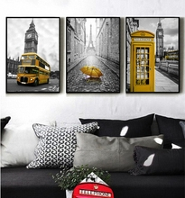 London City Landscape Nordic Simple Style Yellow Telephone Bus Bell tower Poster Canvas Wall Bedroom Decoration Combined Poster simple minds london