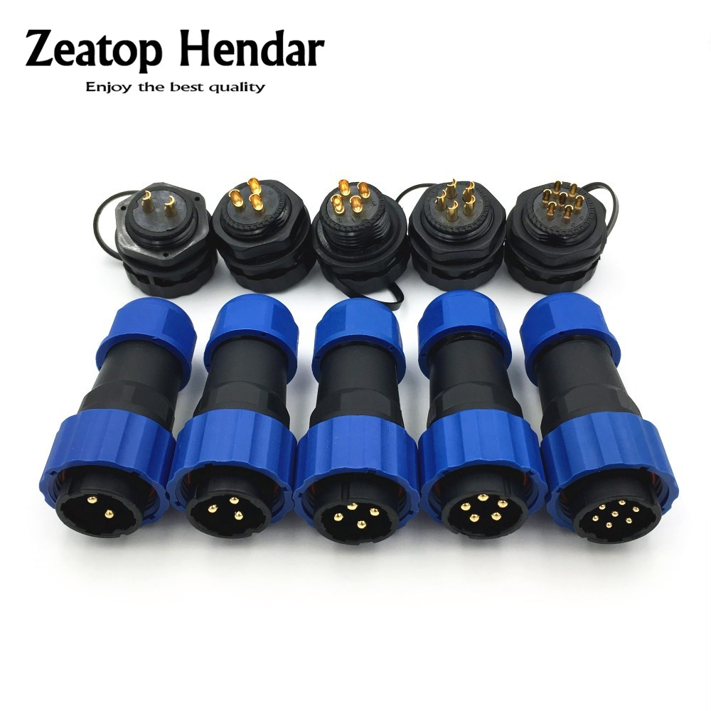 1Set SP20 Waterproof Aviation Connector 2 3 4 5 6 7 9 12 P Pin IP68 20mm Circular Power Cable Male Plug Jack Female Socket