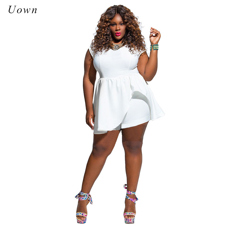 Plus Size Women's Solid All White Jumpsuits Short Pant ...